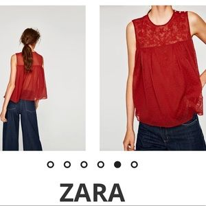 Zara Red Dotted Mesh Top Size M